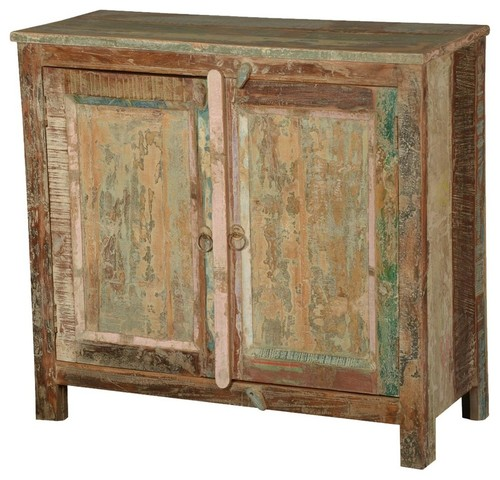 Salerno Distressed Rustic Reclaimed Wood Console Hallway Cabinet