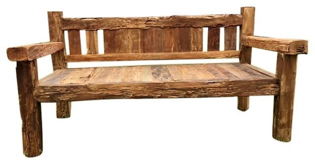 Rustic Teak Wood Bench