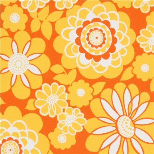 orange flower fabric with yellow petals Timeless Treasures