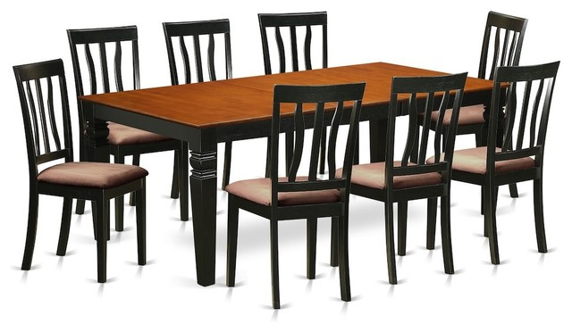 9 Pc Dining Room Set With A Dining Table And 8 Dining Chairs, Black And  Cherry