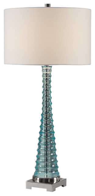 Ribbed Aqua Blue Sculpted Table Lamp, Modern Tapered Pyramid Column  Turquoise