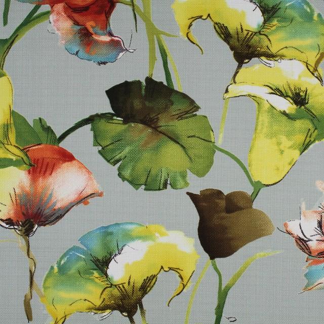 Celadon Blue Green Orange Yellow Floral Print Upholstery Fabric