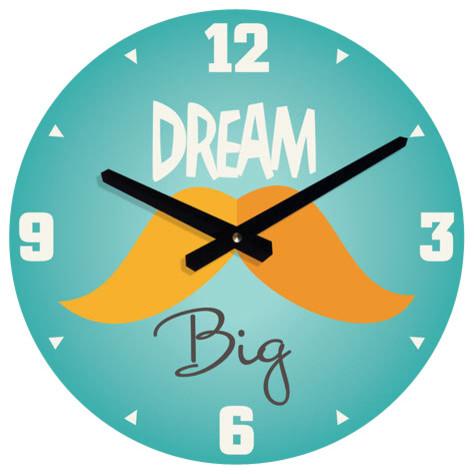 Wall clock for boys room dream big mustache design traditional kids