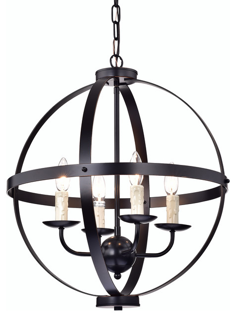 4 Light Oil Rubbed Bronze Globe Cage Chandelier Ceiling Fixture