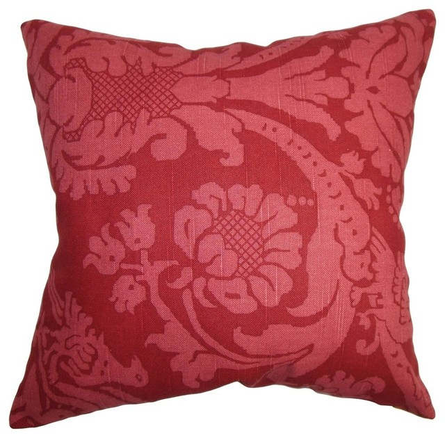 "Carew Floral Pillow Red, 24""x24""."