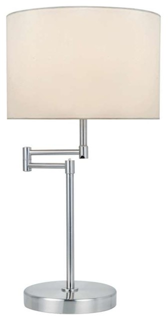 Lite Source Table Lamp, Polished Silver White Fabric Shade.