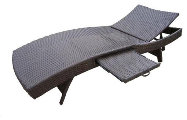 Oakland Living Elite Resin Patio Wicker Chaise Lounge, Coffee.