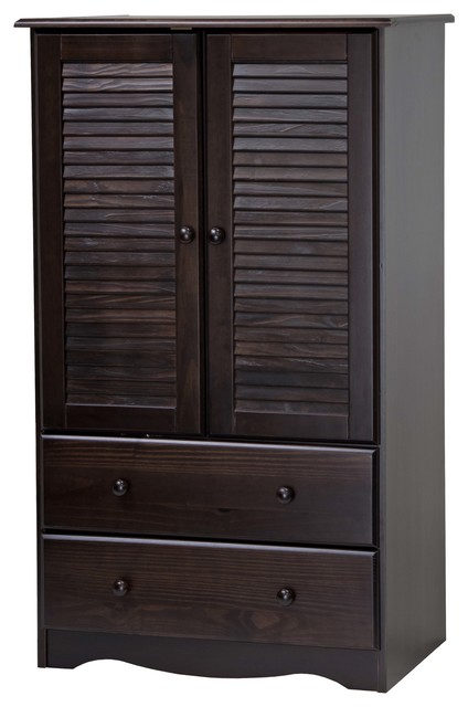 100% Solid Wood Petite Armoire/wardrobe/closet, Java.