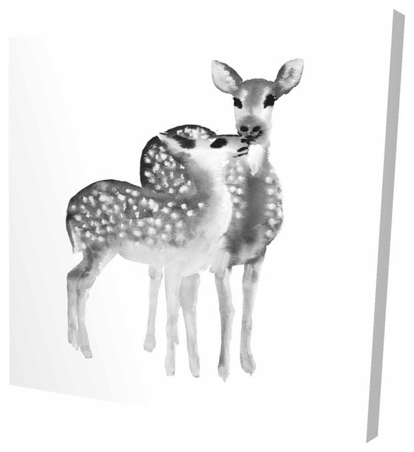 Fawns Love Print On Wrapped Canvas Rustic Prints And Posters By Begin Edition