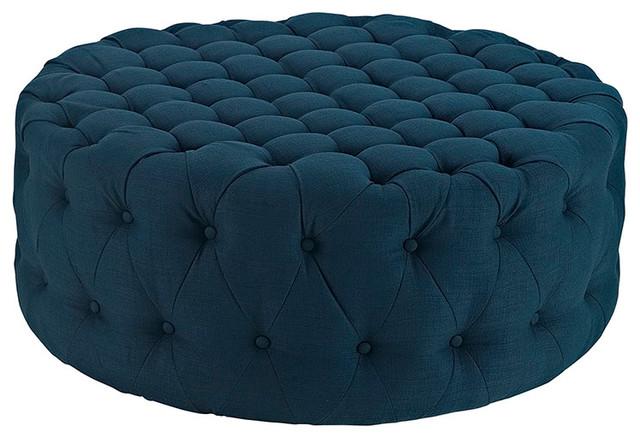 Amour Upholstered Fabric Ottoman, Azure.