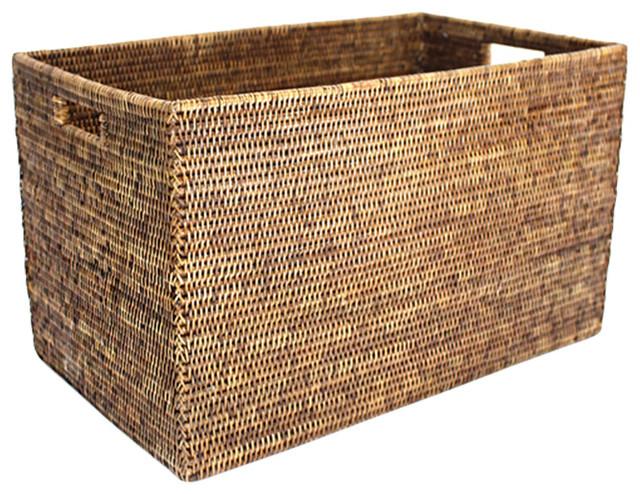 "Rattan Rectangular Laundry Basket 24.5""."