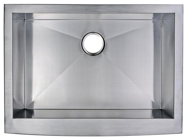 """30"""" X 22"""" Zero Radius Single Bowl Stainless Steel Apron Front Kitchen Sink."""