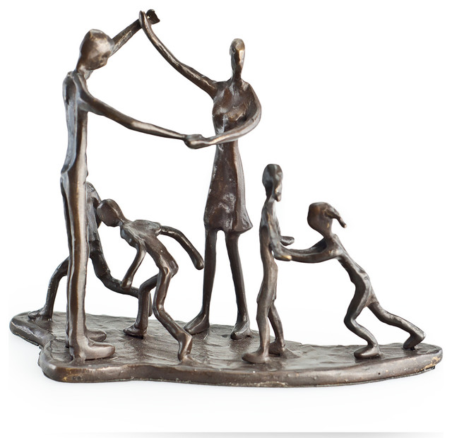 Children And Pas At Play Bronze Sculpture