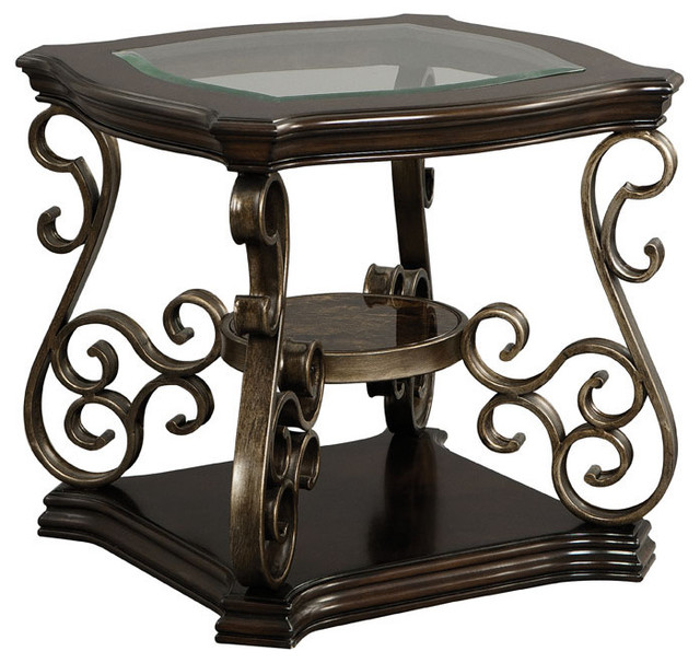 Standard Furniture Seville End Table With Warm Burnished Bronze Base  Traditional Side Tables