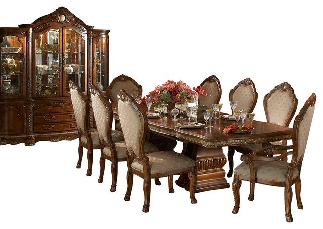 10 Piece Cortina Rectangular Dining Room Table Set With China Cabinet Victorian