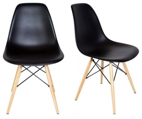 Houzz Set Of 2 DSW Black Mid Century Modern Plastic Dining Shell Chair