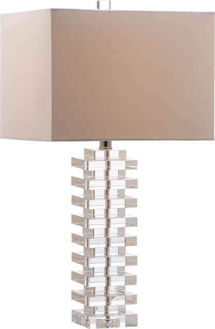Swift Table Lamp, White Shade, Clear Base.