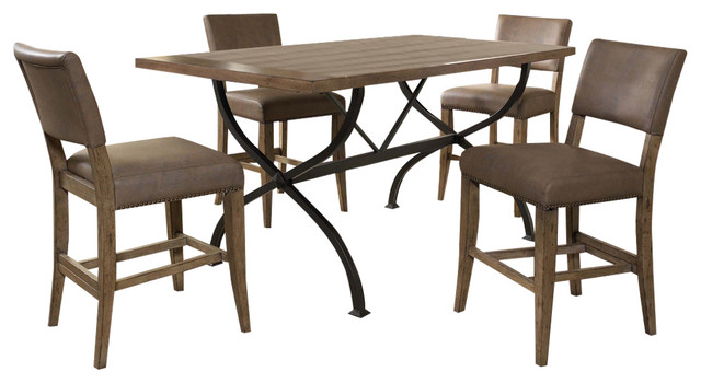 Charleston 5 Piece Counter Height Rectangle Wood Dining Set With Parson Stool Contemporary Dining Sets By Hillsdale Furniture