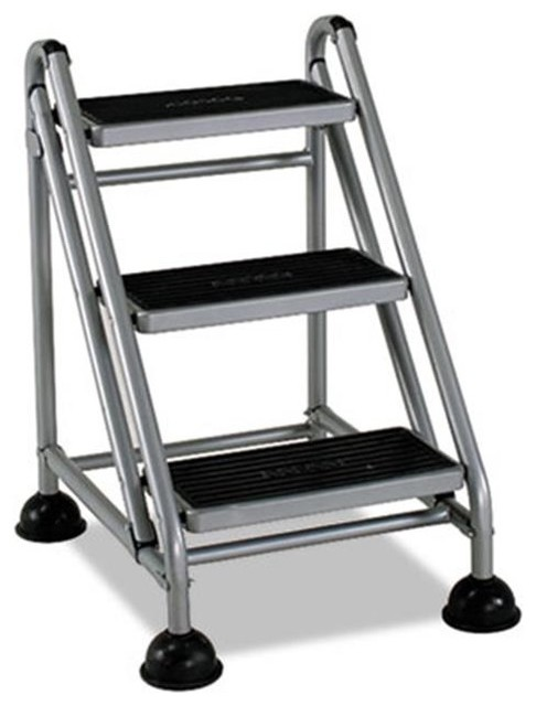 Csc 11834ggb1 Rolling Commercial Step Stool, 3-Step, 26.6 Spread.