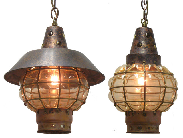 Rustic Globe String Lights :  Antiqued Hanging Globe Light (Interior & Exterior Use by Shiplights) - Rustic - Outdoor ...