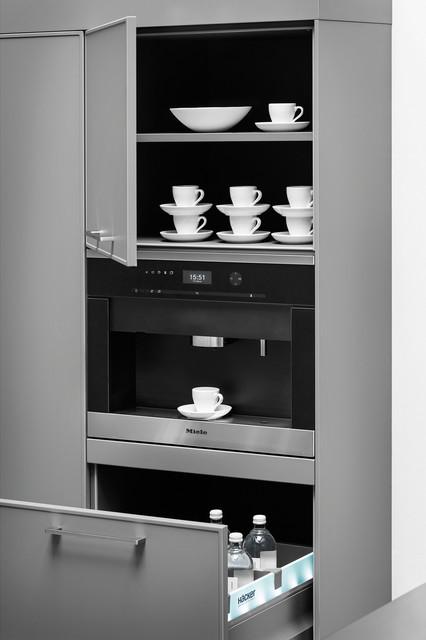 Lavagrau mit Weinrot kombiniert minimalistisch-kueche