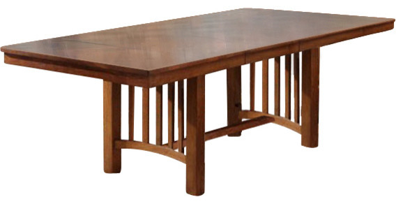 A America Laurelhurst Trestle Dining Table, Mission Oak Traditional Dining  Tables