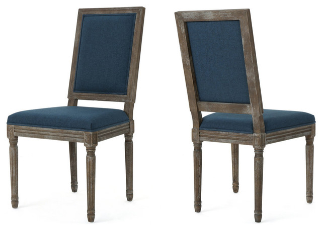 GDF Studio Margaret Traditional Fabric Dining Chairs, Navy Blue, Set of 2
