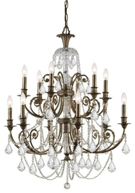 crystorama regis 12 light swarovski crystal bronze chandelier