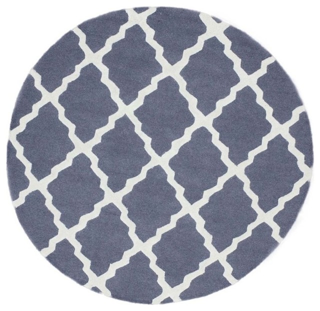 Nuloom 6 39 x6 39 hand hooked marrakech trellis round rug blue for Round area rugs contemporary
