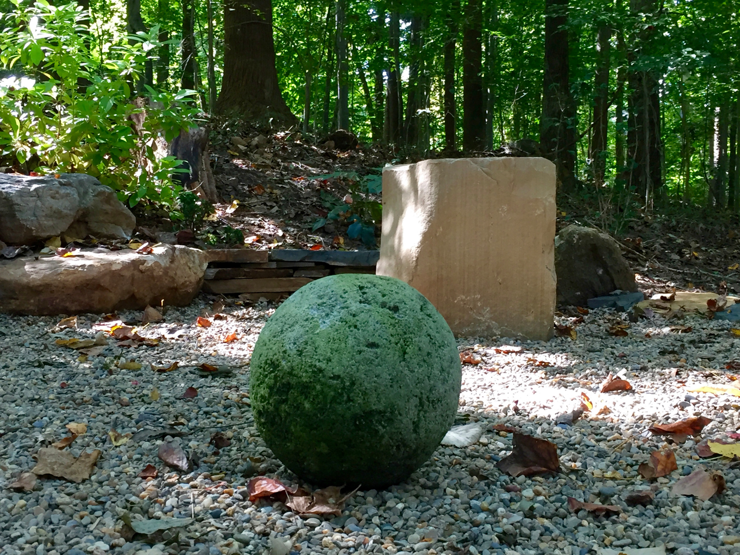 Stone sphere and seating stone