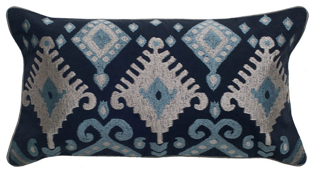 """11""""x21""""blue Decorative Pillow With Embroidery Satin Backing Fabric."""