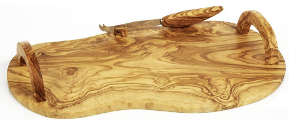 Berard Olive Wood Cheese Board With Handles Knife