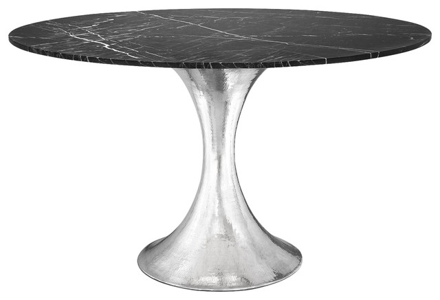 Stockholm Dining Table, Nickel Base, White Marble Midcentury Dining Tables