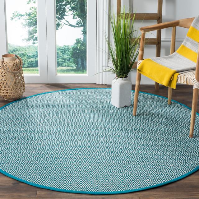 Safavieh Montauk Flatweave Rug, Ivory/Turquoise, 4'x4' Square