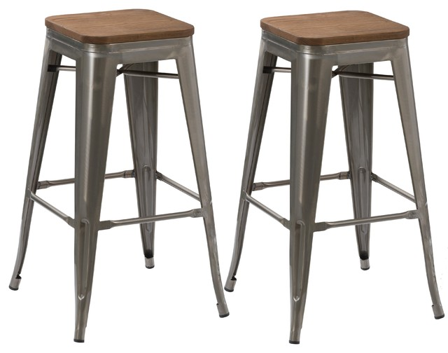 30  Stackable Antique-Style Brush Distressed Bar Stools Wood Seat Set of 2  sc 1 st  Houzz & 30