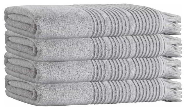 Ellen Bath Towels, Set of 4, Silver