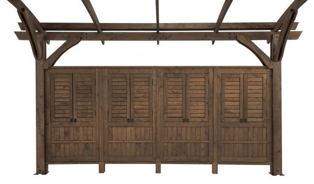 Outdoor Greatroom Mocha Wood Wall.