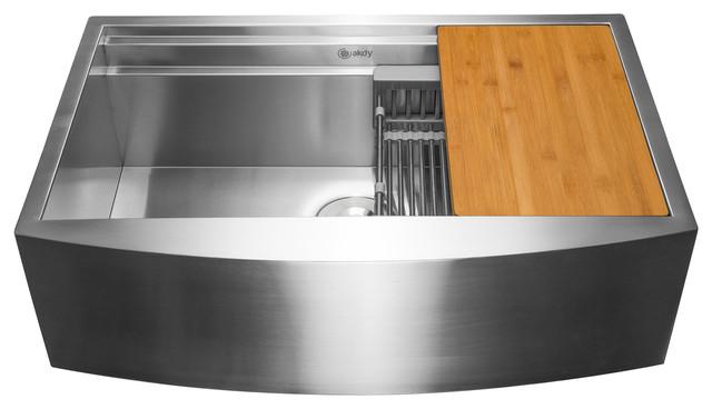 """Akdy 33""""x20""""x9"""" Apron Farmhouse Handmade Stainless Steel Kitchen Sink."""