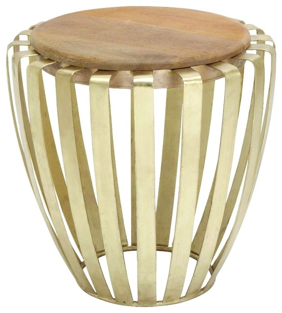 Tall Drum Accent Table Round Wood Brass Cage Decor - Brass drum side table