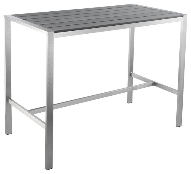 Haven Aluminum Outdoor Long Bar Table, Slate Gray Poly Wood, Brushed Nickel
