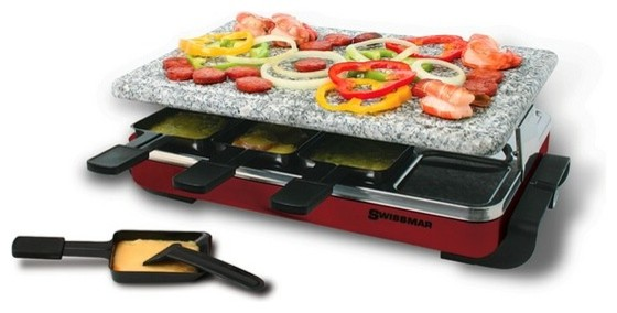 swissmar 8 person red classic raclette party grill with granite stone traditional fondue and. Black Bedroom Furniture Sets. Home Design Ideas