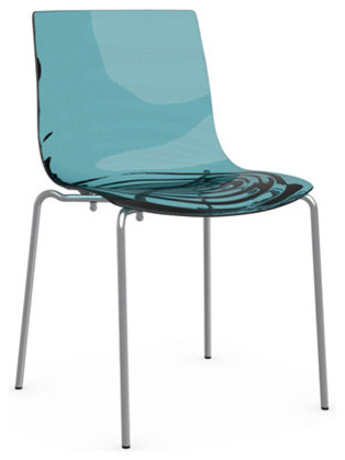 Bon Lu0027EAU Chair, Transparent Aquamarine, Chrome Frame