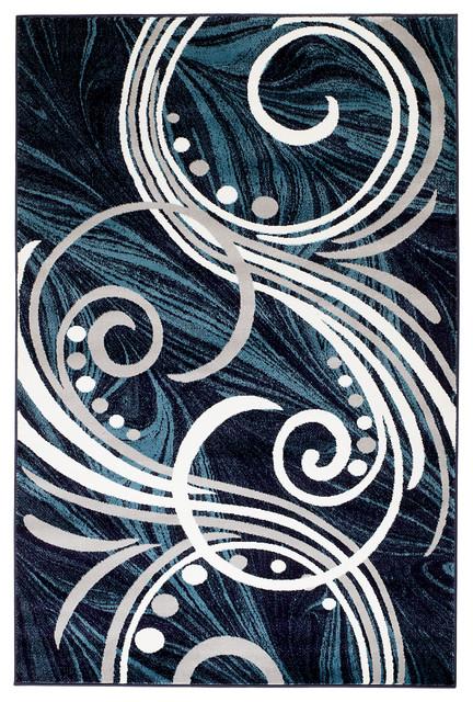 Summit H61 Navy Blue Abstract Swirl Design Area Rug