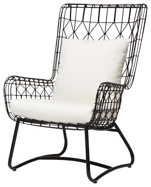 Kathy Kuo Home Chloe Modern Classic Salt Black Steel Outdoor Wing Chair Out