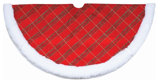 20 glitter plaid christmas tree skirt with white faux fur border