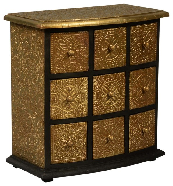 Ornate Apothecary Brass and Mango Wood 9-Drawer Mini Chest ...