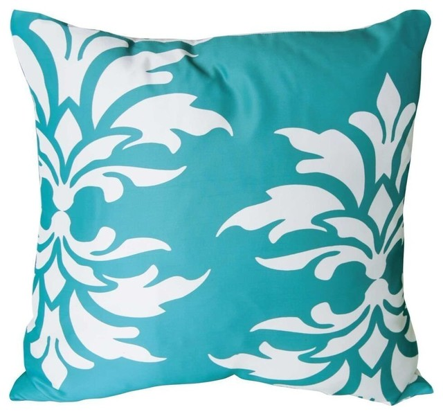 Mina Victory Damask Turquoise Outdoor Throw Pillow Contemporary