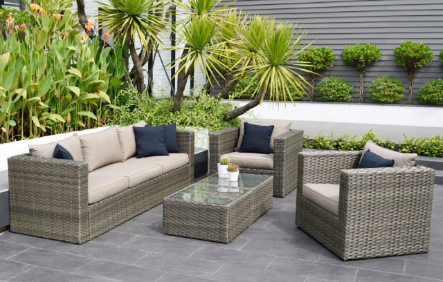 Atlantic Mustang 5 Piece Patio Conversation Set Wicker Tropical Outdoor Lounge Sets By Amazonia Houzz