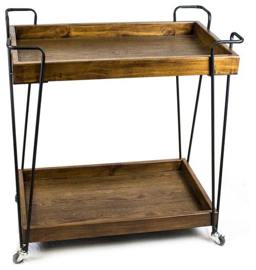 Bar Cart, Metal and Wood, Black