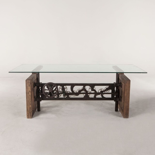 79 L Dining Table Reclaimed Hardwood Solid Gl Top Cast Iron Hand Crank Base